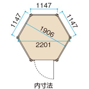 六角形のコンサバトリーの内寸法